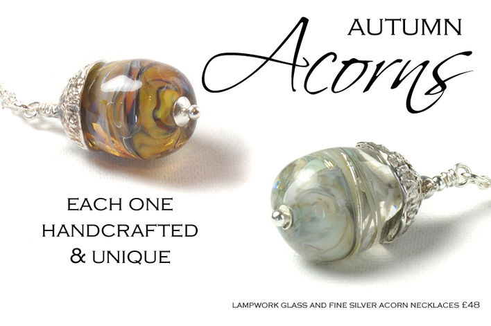 Shop Glass and Silver Acorn Necklaces