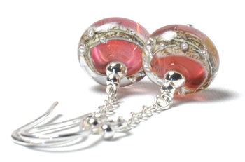 E131104 Handmade Pink and Silver Artisan Glass Earrings