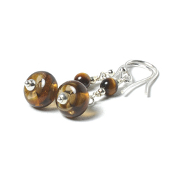 E131103 Glass and Tigers Eye Handmade Sterling Silver Earrings