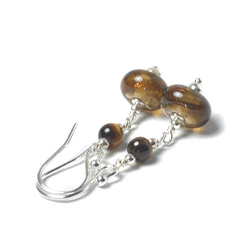 E131103a Glass and Tigers Eye Handmade Sterling Silver Earrings