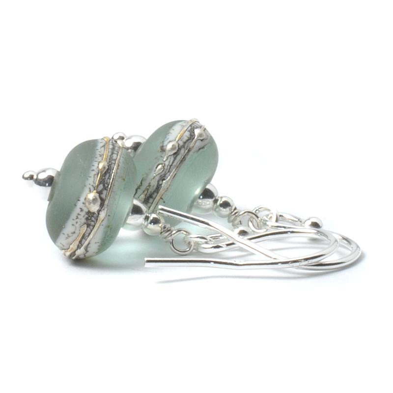 Pale Green Silvered Glass Drop Earrings