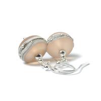 Pale Nude Silvered Glass Drop Earrings