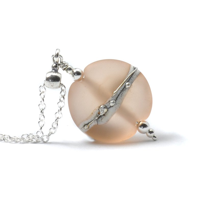 Nude Peach Silvered Glass Necklace