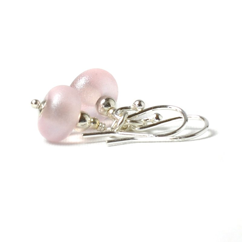 Pearly Pink Earrings Lampwork Glass Earrings