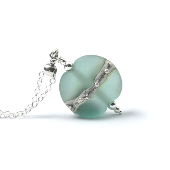 Pale Green Silvered Glass Necklace
