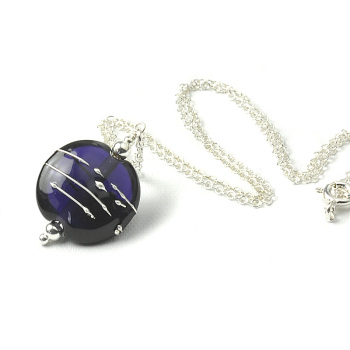 Simplicity Collection Dark Violet Lampwork Glass Necklace