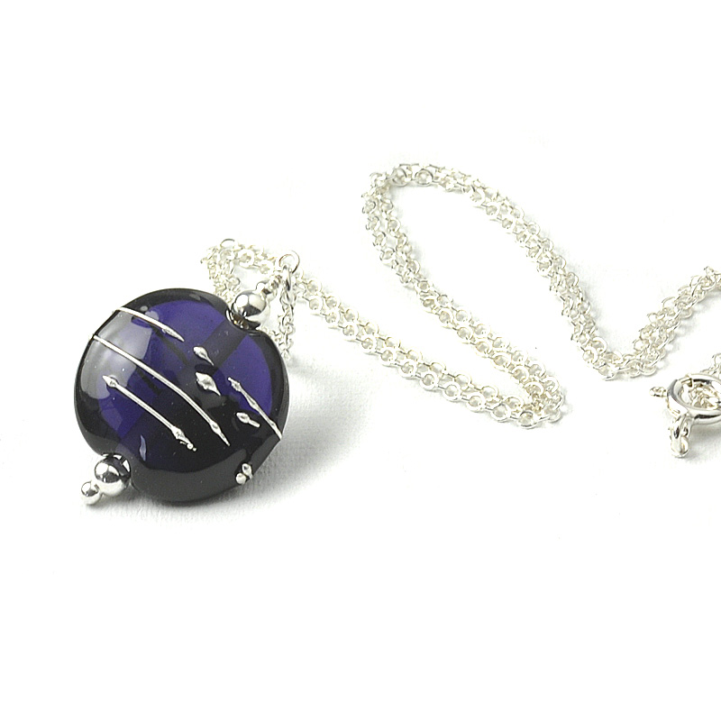 Simplicity Lampwork Glass Necklace - Dark Violet