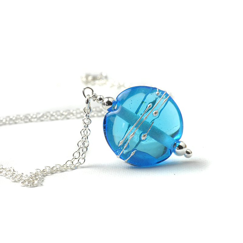 Simplicity Lampwork Glass Necklace - Pale Blue