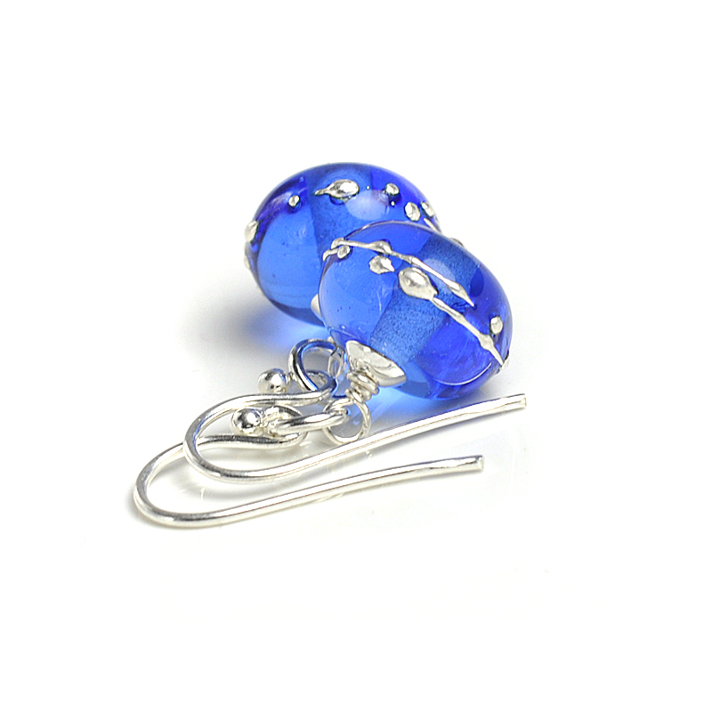 Simplicity Lampwork Glass Earrings - Blue