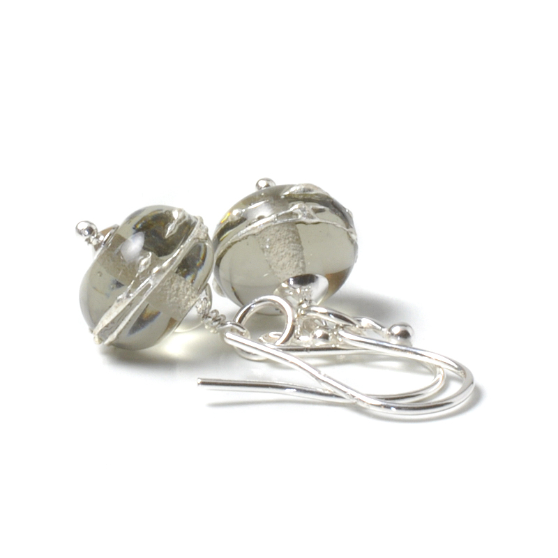 Simplicity Lampwork Glass Earrings - Grey