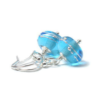 Simplicity Lampwork Glass Earrings - Light Blue