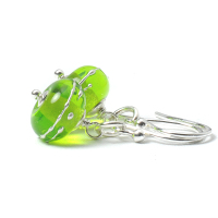 Simplicity Lampwork Glass Earrings - Light Green