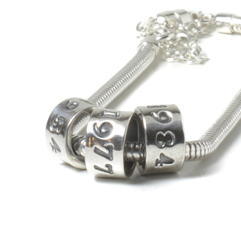 Personalised Pure Silver Date Charm Bead
