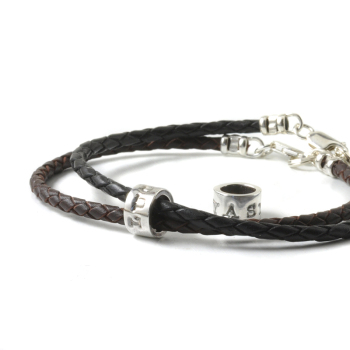 Unisex/Men's Personalised Leather Bracelet with Pure Silver Name Beads