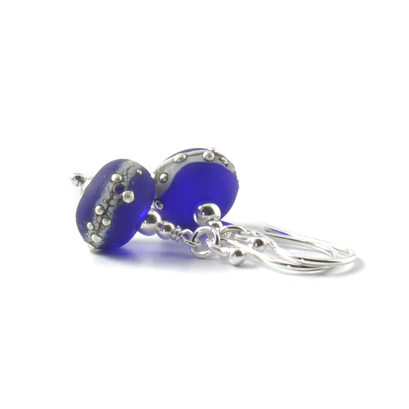 Cobalt Blue Silvered Glass Drop Earrings