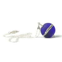 Cobalt Blue Silvered Glass Necklace