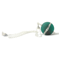 Emerald Green Silvered Glass Necklace