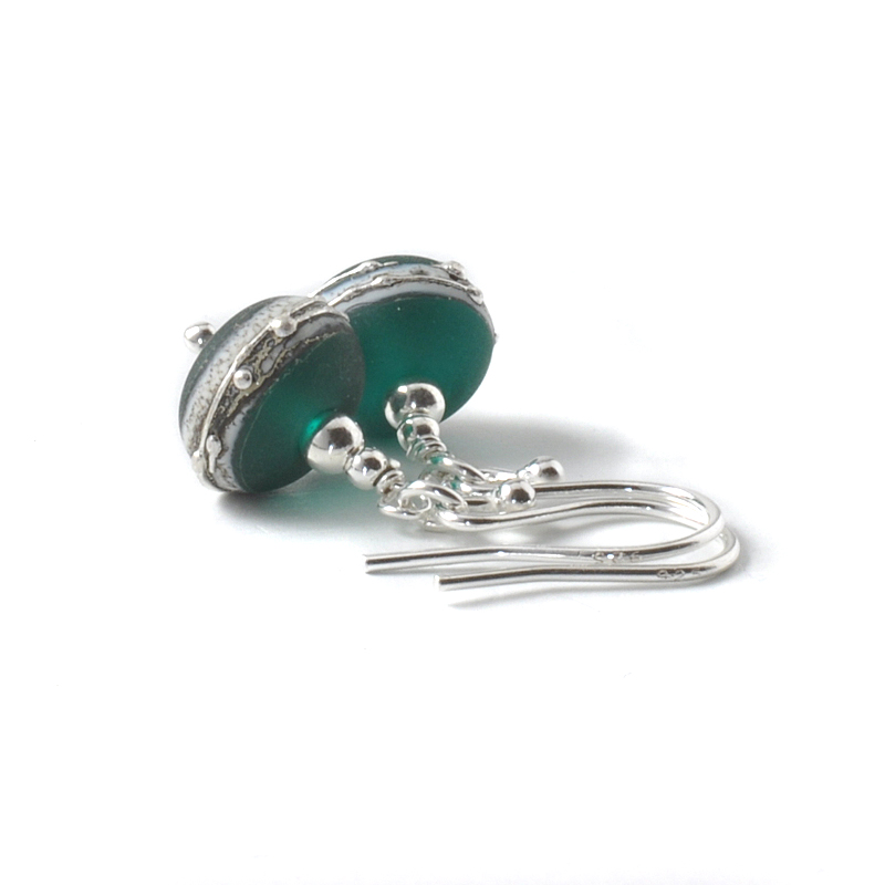 Emerald Green Silvered Glass Drop Earrings