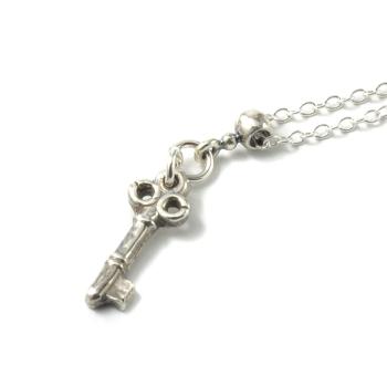 Tiny Silver Key Pendant Necklace