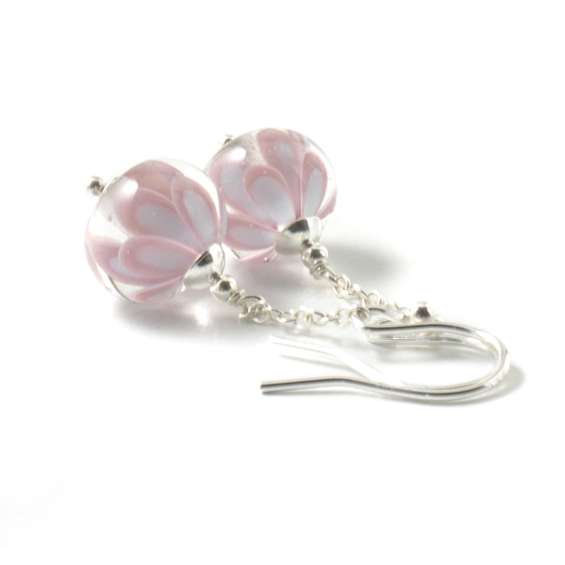 Long Pink Glass Flower Earrings | UK Lampwork