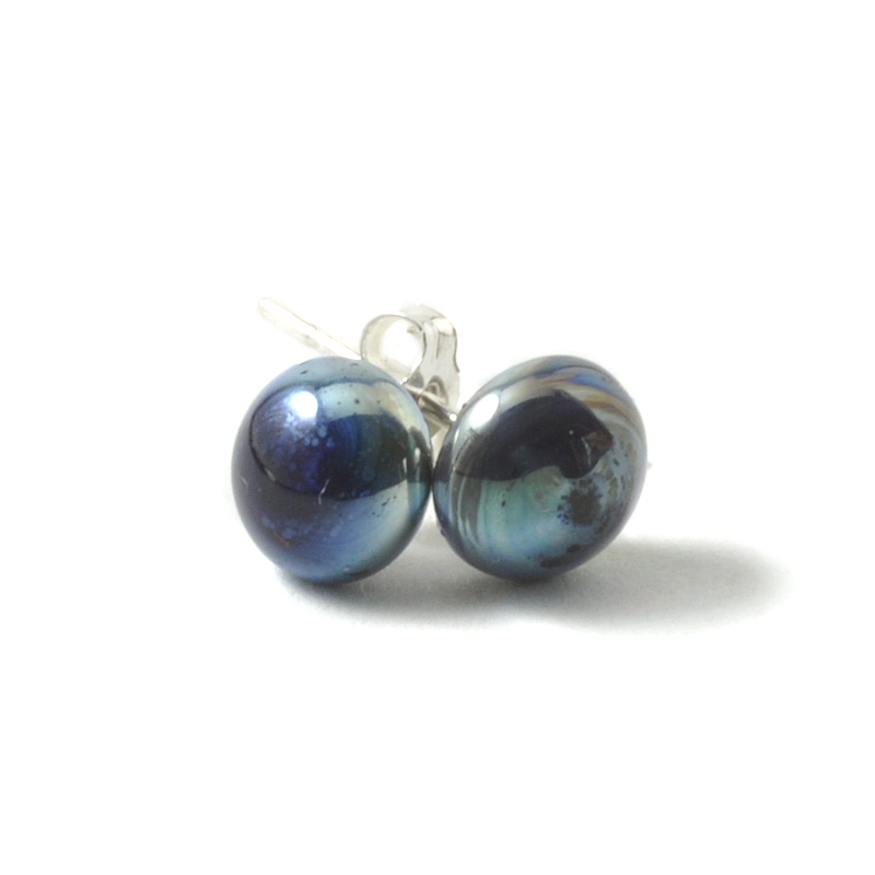 Metallic Glass Stud Earrings