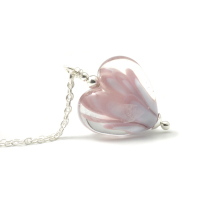 Pink Blossom Lampwork Glass Heart Necklace