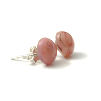 Pink Marble Glass Stud Earrings