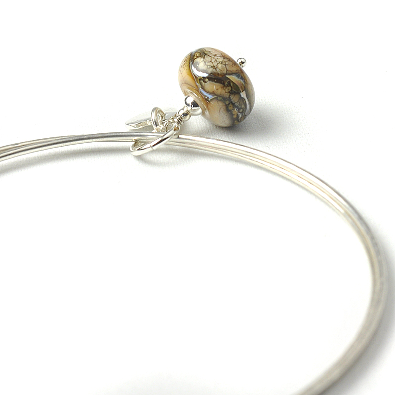 Marbled Bronze Silver Charm Bangles