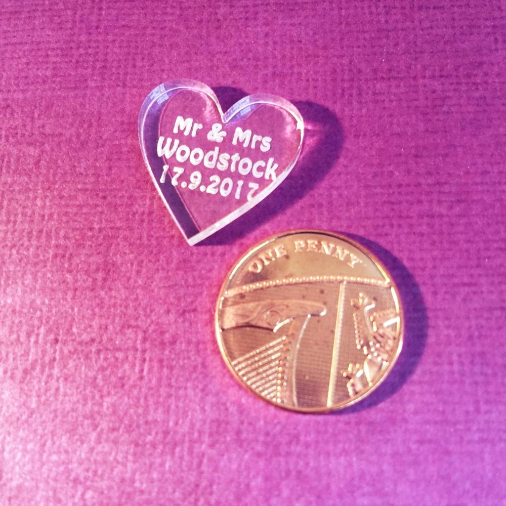 50 Personalised Mr & Mrs Love Hearts Acrylic