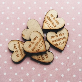 50 Personalised Mr & Mrs Love Hearts Plywood