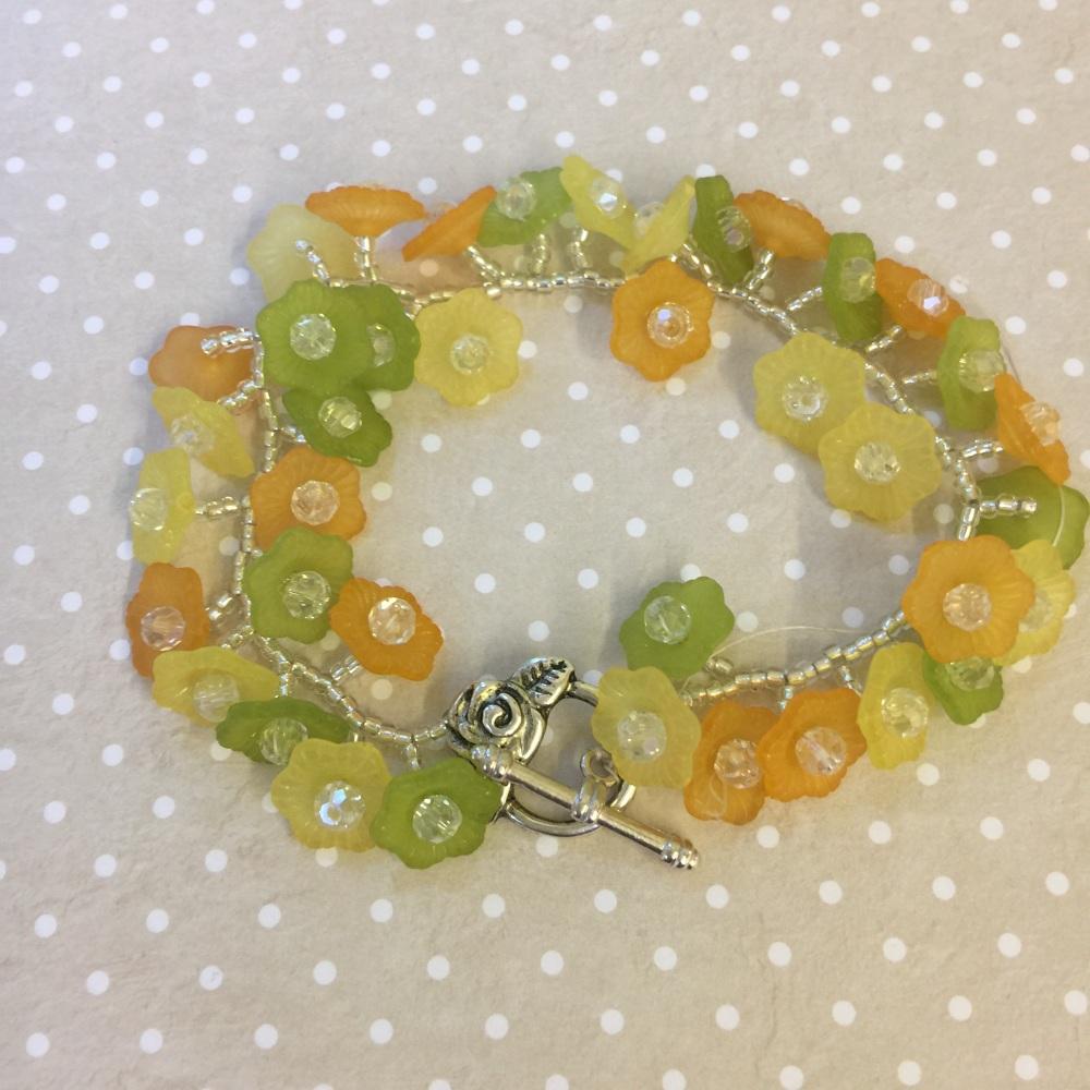lucite flower bracelet meadow