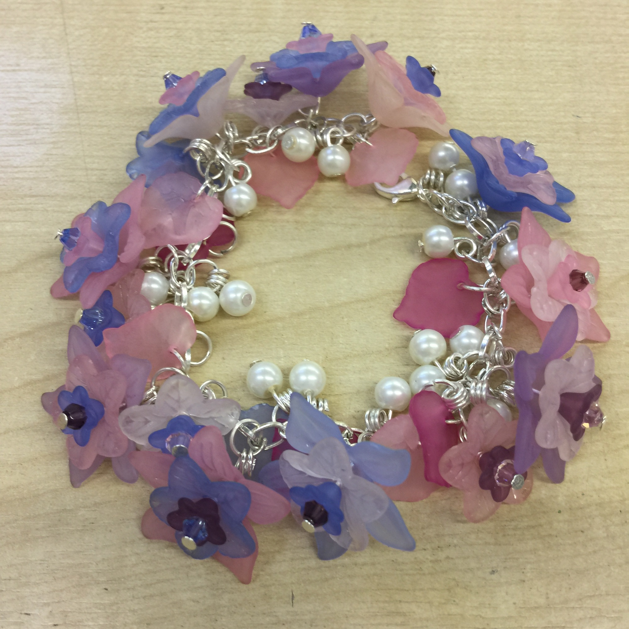 Lucite and pearl bracelet