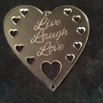 Perspex hanger 'Live Laugh Love'