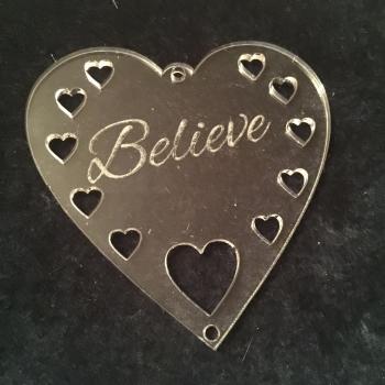 Acrylic word hanger 'Believe' hanger