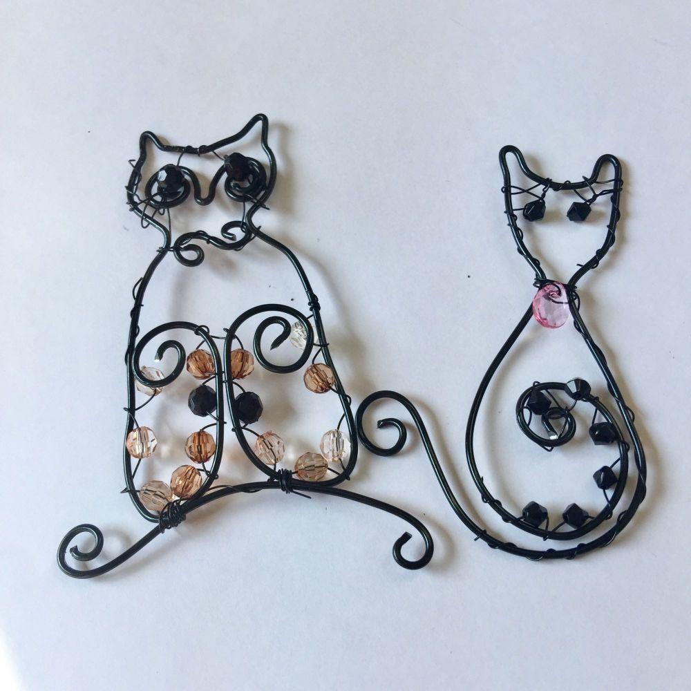 Wire designer cat and owl