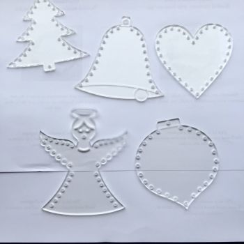 lasercut perspex form with holes for decorating set