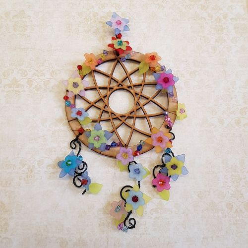 Beaded flower dream catcher