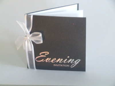 VC2 Evening Invitation Silver on Onyx Black Pearl Card inc envelope