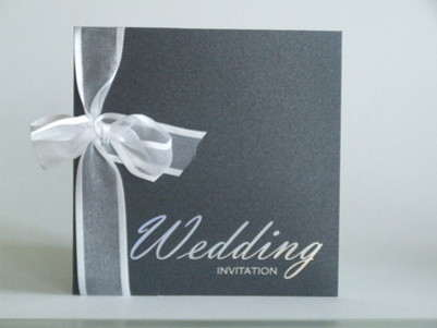 VC1 Wedding Invitation Silver Foiling on Onyx Black Pearlescent Card