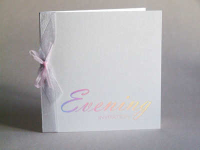 VA2 Evening Invitation Silver Holo on Quartz Pearl Card inc envelope
