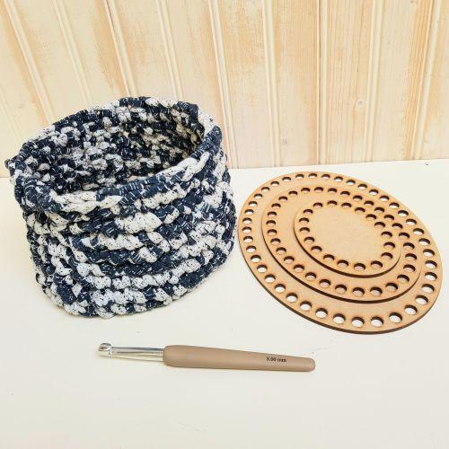 Wooden basket base for crochet - Squares
