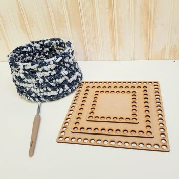 Wooden basket base for crochet - Squares