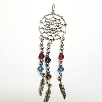 Beaded silver alloy and crystal dream catcher