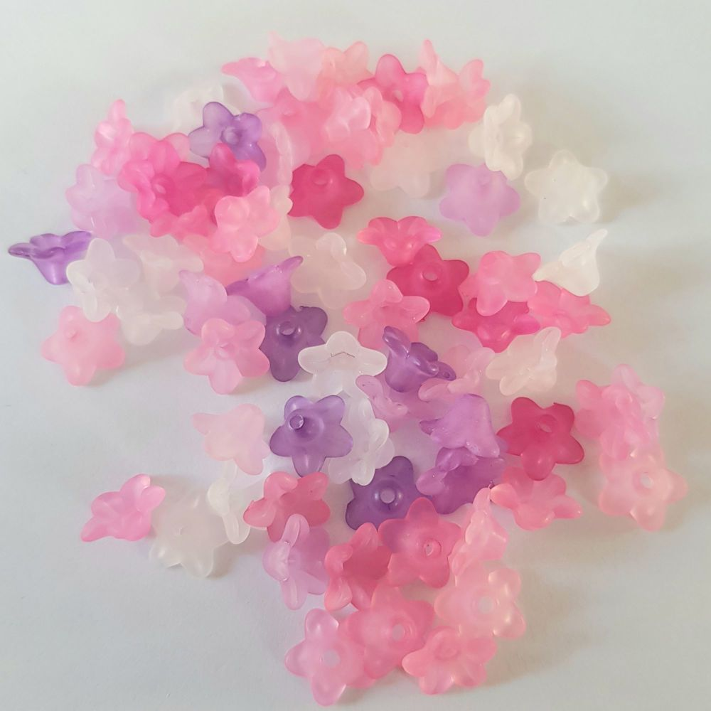 Flowers 'Lucite' Beads, Frosted  Pink mix 10mm