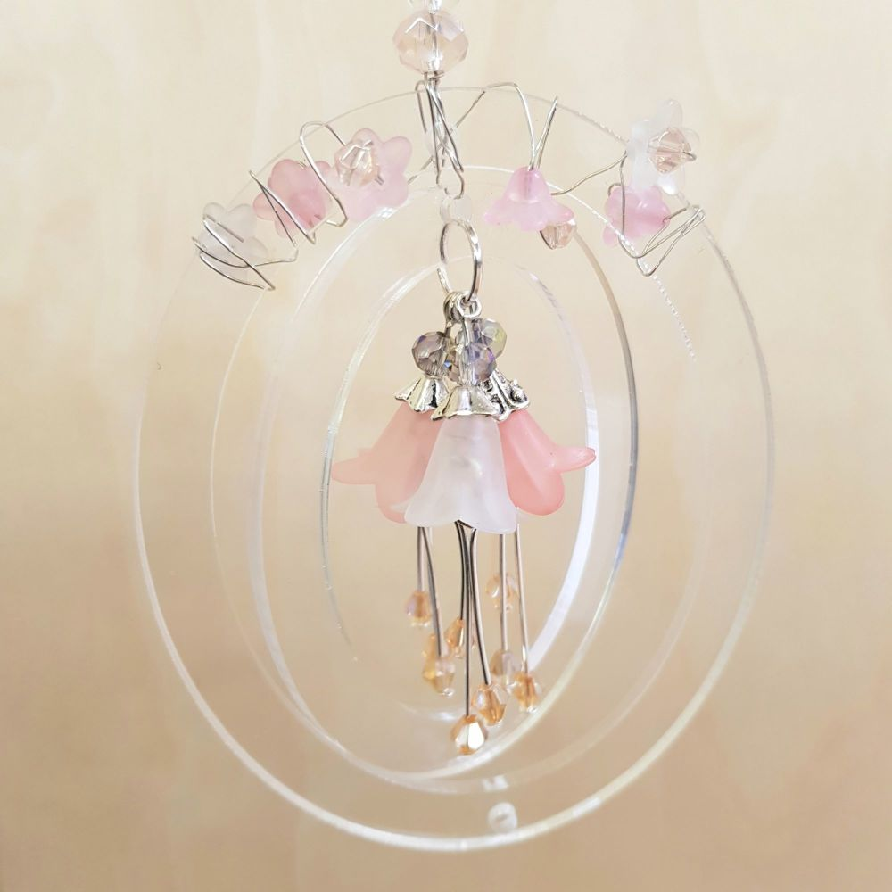 Beaded bell flower hanger