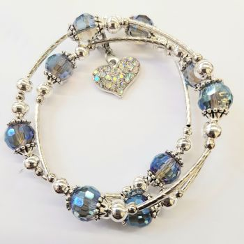 Memory Wire faceted bead bracelet