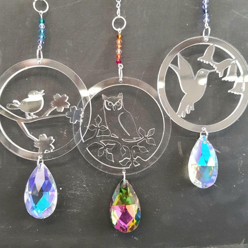 Crystal bird hangers