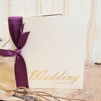 VB1 Wedding Invitation Gold on Opal Ivory PearlCard incl envelope