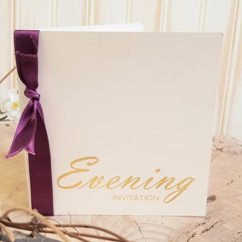 VB2 Evening Invitation Gold on Opal Ivory Pearl Card inc envelope