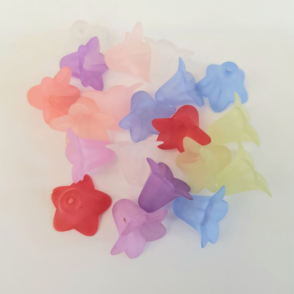 Flowers 'Lucite' frosted bell Acrylic Beads